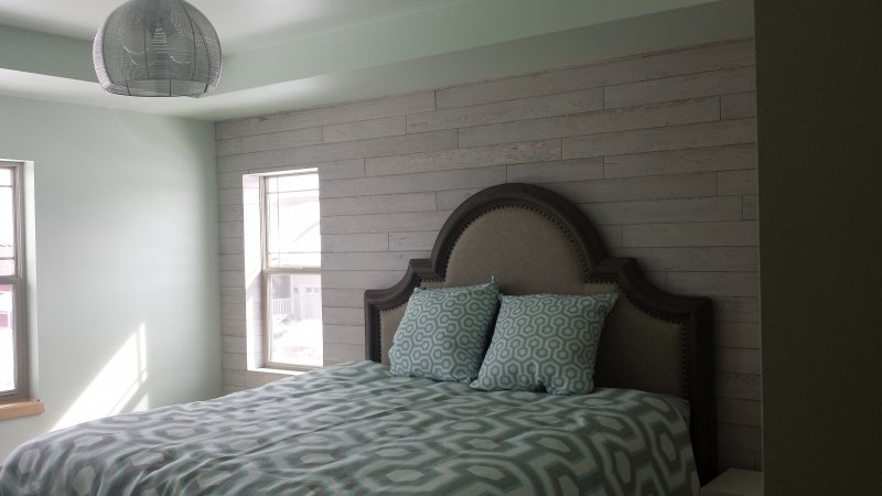 Wood Accent Wall in Master Bedroom – Time 2 Remodel, LLC.
