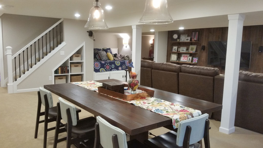 Inviting Family Area From Unfinished Basement Time 48 Remodel LLC Extraordinary Basement Remodeling Madison Wi
